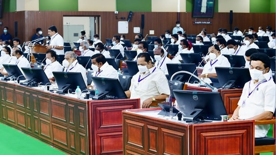 Tamil Nadu finance minister PTR Palanivel Thiagarajan presents the state budget in Assembly, in Chennai.(PTI)