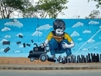 Two artists from Hyderabad has been using street art to express their thoughts on several issues for the last 12 years.(Twitter/@swathiandvijay)