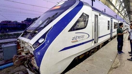 The Vande Bharat Express, during its trial run between Delhi and Katra.(PTI)