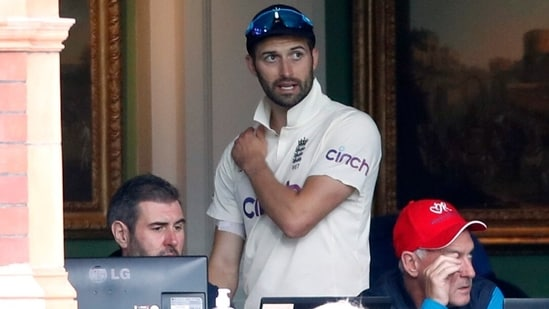 England's Mark Wood in the dressing room after leaving the field of play with an injury(Action Images via Reuters)