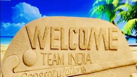 Sudarshan Patnaik's sand art welcoming the hockey teams to Odisha. (HT photo)