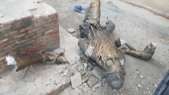 The statue of Maharaja Ranjit Singh which was vandalised in Lahore on Tuesday.