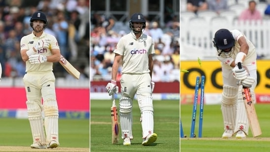 England batsmen Rory Burns (L), Dom Sibley (centre) and Haseeb Hameed (R)(HT Collage)