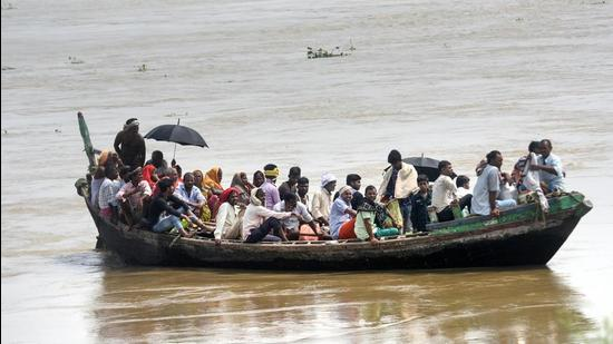 Ganga has been at its highest level at Hathidah for the past one week and it crossed the highest flood level of 34.72m, registered in 2016, at Bhagalpur. (Courtesy Photo- PTI)