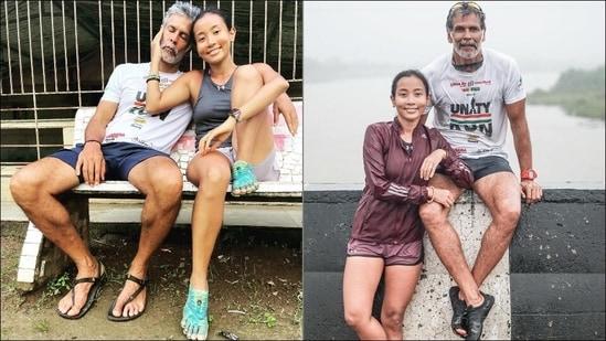 Milind Soman, Ankita Konwar go all mushy as they mark 160 kms run from Mumbai(Instagram/milindrunning)