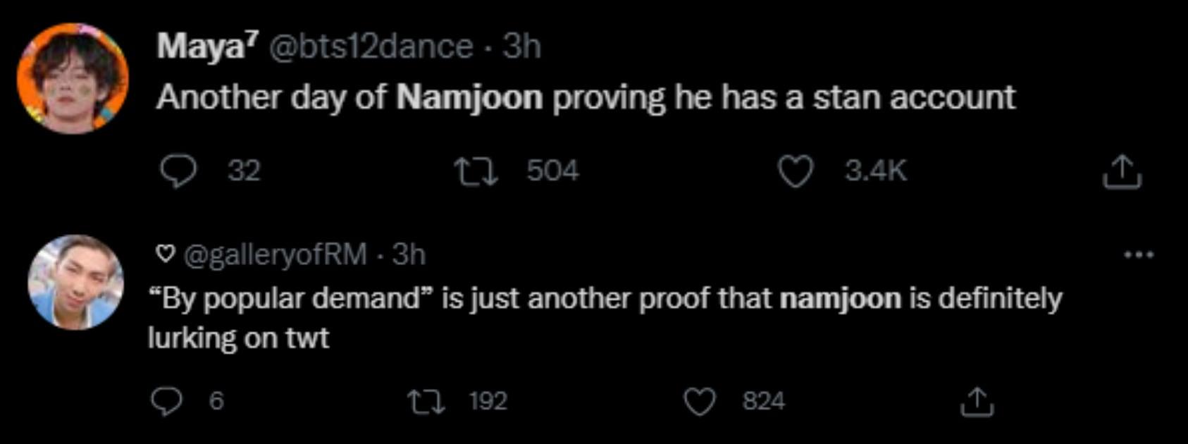 Penggemar BTS mengira RM memiliki akun rahasia.