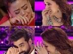 Madhuri Dixit, Bharti Singh wipe their tears as they watch a performance on Dance Deewane 3.