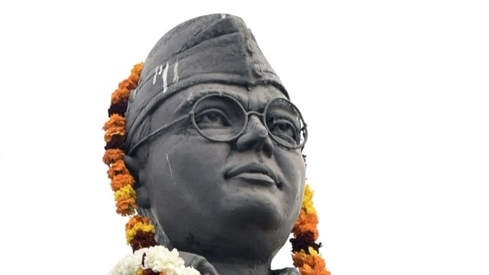 A statue of Indian nationalist leader Netaji Subhash Chandra Bose is pictured with a garland in Amritsar.(AP)