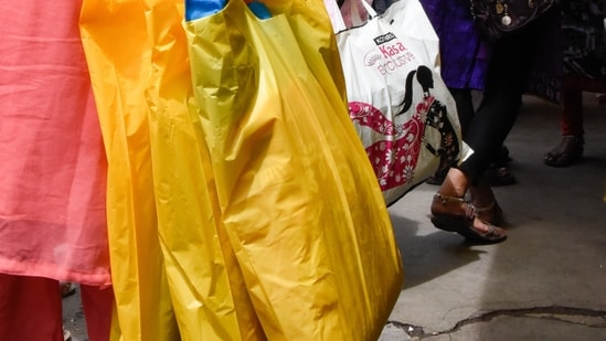 The notification released on Friday said the permitted thickness of plastic bags, currently 50 microns, will be increased to 75 microns from September 30 this year and to 120 microns from December 31, 2022.(Sanket Wankhade/HT PHOTO)