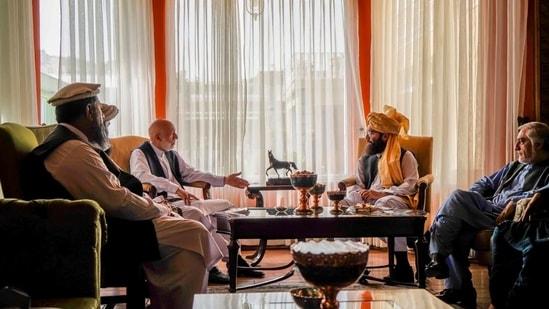 Talks are being held in the Afghan capital to expand the scope of the future Afghan government by including non-Taliban members. (Taliban via AP)(AP)