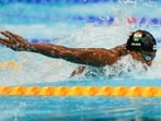 Sajan Prakash, of India, swims in a heat of the men's 100-meter butterfly at the 2020 Summer Olympics.(AP)