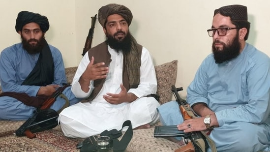 Waheedullah Hashimi (Centre) spoke with Reuters about the Taliban's governance plan during an interview at an undisclosed location near the Afghanistan-Pakistan border.(REUTERS)