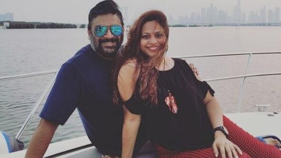 R Madhavan with his wife Sarita Madhavan.