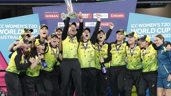 Australian players celebrate their win over India in the Women's T20 World Cup cricket final. File(AP)