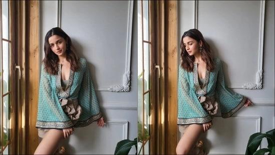 Alia Bhatt oozes oomph in <span class='webrupee'>₹</span>6k chiffon kaftan blouse, <span class='webrupee'>₹</span>3k tie-belt shorts from Sabyasachi x H&amp;M(Instagram/aliaabhatt)