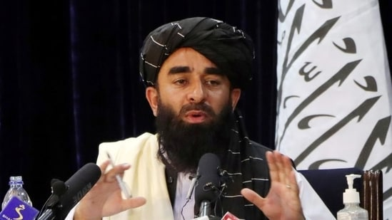 Taliban spokesperson Zabihullah Mujahid speaks during a news conference in Kabul, Afghanistan.(Reuters)