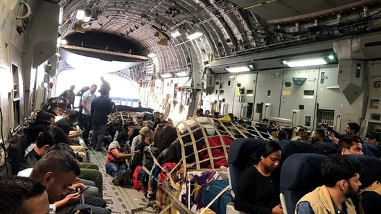 IAF C17 Globemaster Carrying Indian nationals fom Kabul early this week. (ANI)