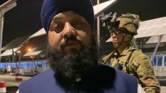 MP Narender Singh Khalsa at the Kabul airport. (sources )