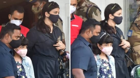 Aishwarya Rai and her daughter Aaradhya at the Kalina airport in Mumbai on Sunday,(Varinder Chawla)