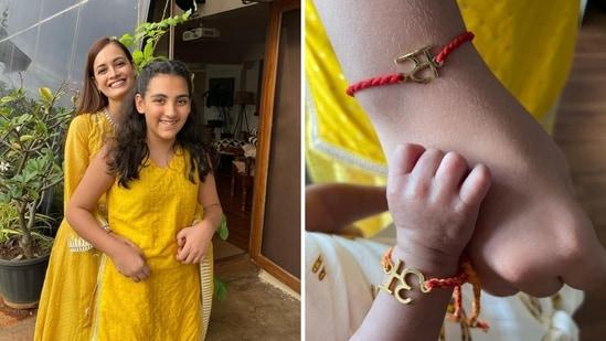 Dia Mirza shared photos of son Avyaan's first Raksha Bandhan celebration.