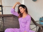 Khushi Kapoor shares pictures in a purple kurta.