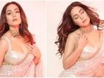 'Param Sundari' Hina Khan in sequinned saree mixes ethnic and modern vibes on Bigg Boss OTT sets(Instagram/@realhinakhan)