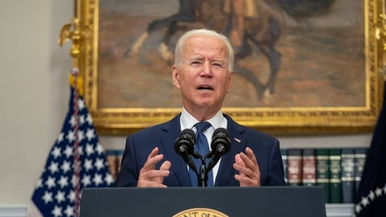 Biden also said that he was in talks with military officials about extending his government's evacuation mission in Afghanistan beyond the August 31 deadline.(Bloomberg)