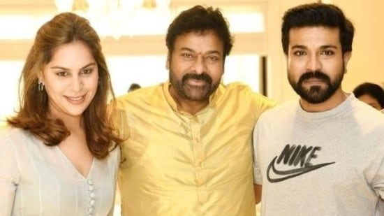 Chiranjeevi with his son Ram Charan and daughter-in-law Upasana.