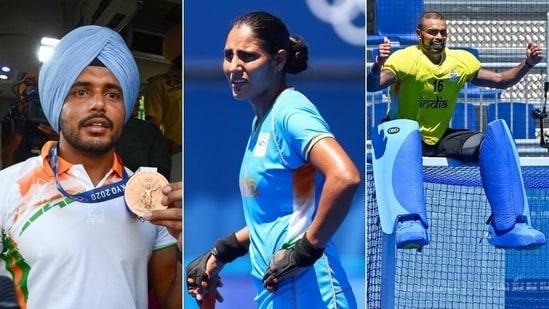 Harmanpreet Singh (L), Gurjit Kaur and PR Sreejesh (R)(HT Collage)