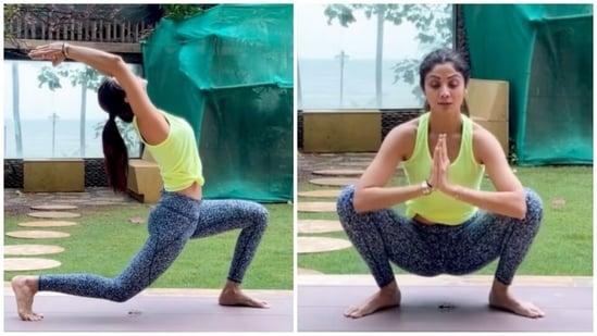 Shilpa Shetty does Virabhadrasana and Malasana in new yoga video: Be your own warrior(Instagram/@theshilpashetty)