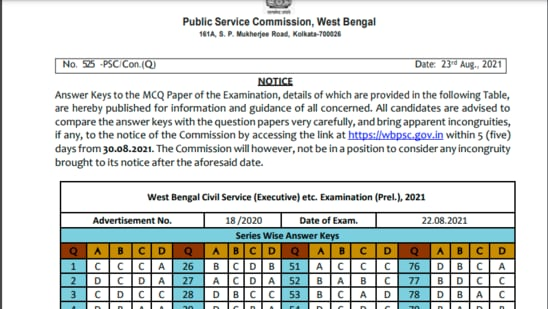 WBCS prelims answer key 2021: The answer key can be checked by all the candidates on the official site of WBPSC on wbpsc.gov.in. The examination was conducted on August 22, 2021.(wbpsc.gov.in)