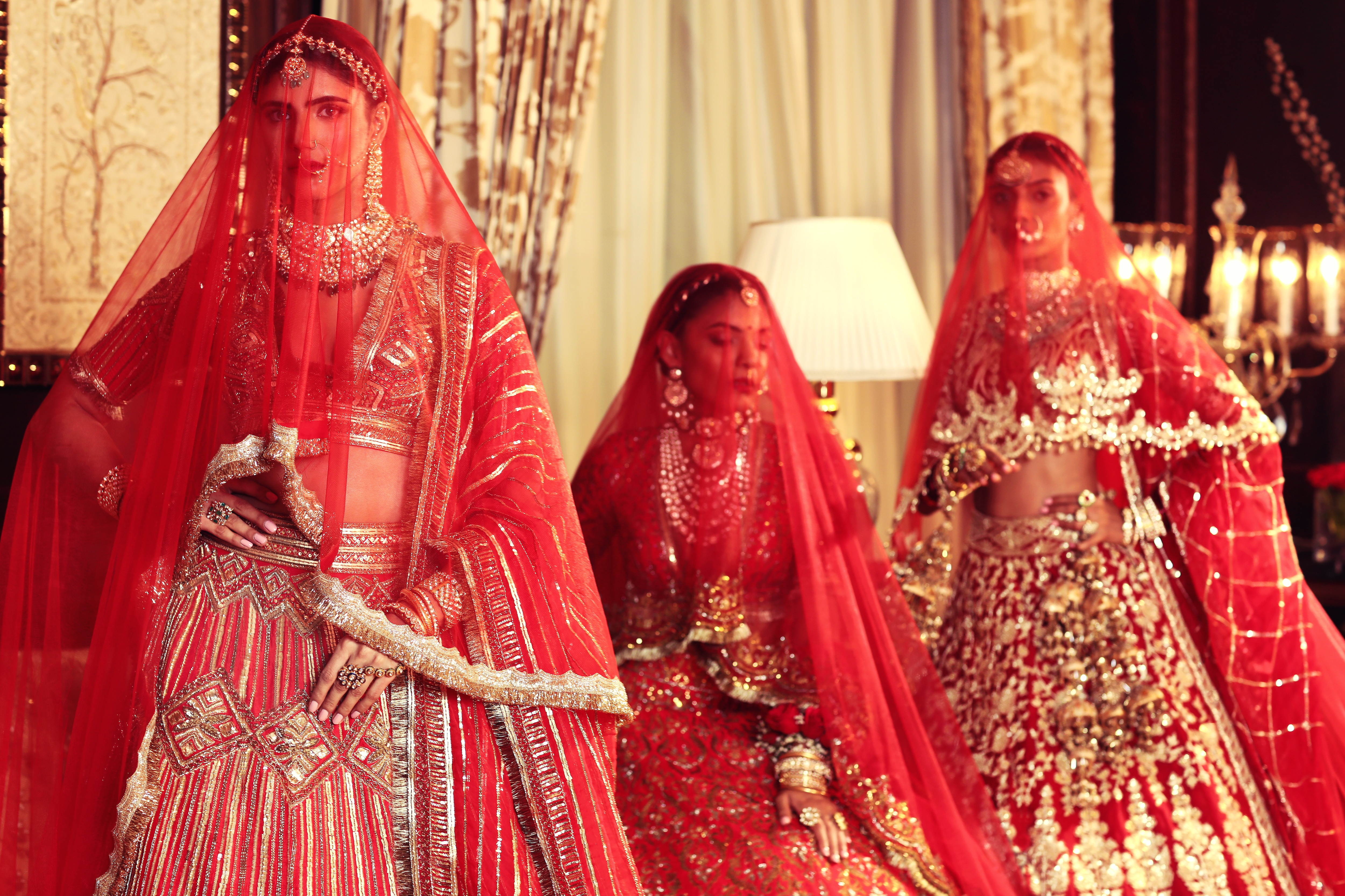 Brides donned in veils