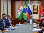 National Security Advisor Ajit Doval and other officials during a virtual meeting of BRICS, in New Delhi on Tuesday. (ANI)