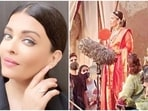 Aishwarya Rai seen in a red saree as she shot for Ponniyin Selvan.