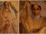 Masaba Gupta recently took the internet by storm as she posed in a gorgeous lehenga by Sabyasachi Mukherjee. In the latest photoshoot with the acclaimed fashion designer, the bold and beautiful Masaba stunned in a gorgeous beige bridal lehenga.(Instagram/@sabyasachiofficial)