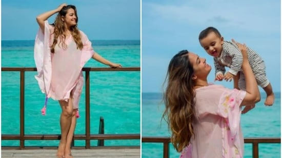 Anita Hassanandani poses against the blue ocean with son Aaravv in the Maldives.