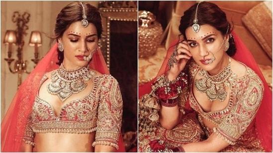 Kriti Sanon is an enchanting bride in traditional red Manish Malhotra lehenga, see all pics(Instagram/@manishmalhotraworld)
