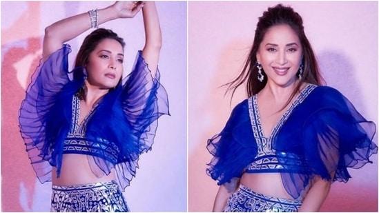 Madhuri Dixit teams the most dramatic blouse with embellished lehenga, Nora Fatehi reacts(Instagram/@madhuridixitnene)
