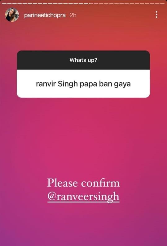 Parineeti Chopra even tagged Ranveer Singh on Instagram Stories.