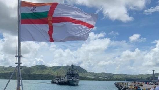 Indian Navy Ships (INS) Shivalik and Kadmatt in Guam (https://twitter.com/indiannavy)