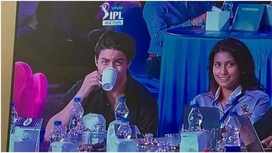 Aryan Khan and Jahnavi Mehta at IPL auction.