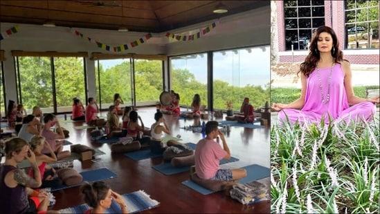 Pooja Batra performs Pranayam at beach with Yoga classmates in Costa Rica(Instagram/poojabatra)