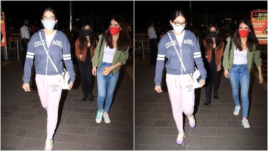 To complete the jet-set ensemble, Radhika left her locks open in a middle parting. Both the actors looked pretty in their simple and chic outfits. What do you think?(HT Photo/Varinder Chawla)