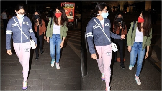 Sara tied her locks in a middle-parted simple hairdo. She completed her look with nerdy glasses and a face mask to keep herself safe during the pandemic.(HT Photo/Varinder Chawla)