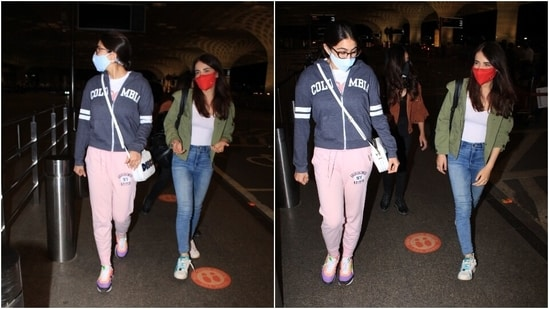 Sara chose a Columbia jersey jacket for her airport look. She teamed it with a comfy printed top, blush pink joggers, an over-the-body patterned bag and chunky lace-up sneakers.(HT Photo/Varinder Chawla)