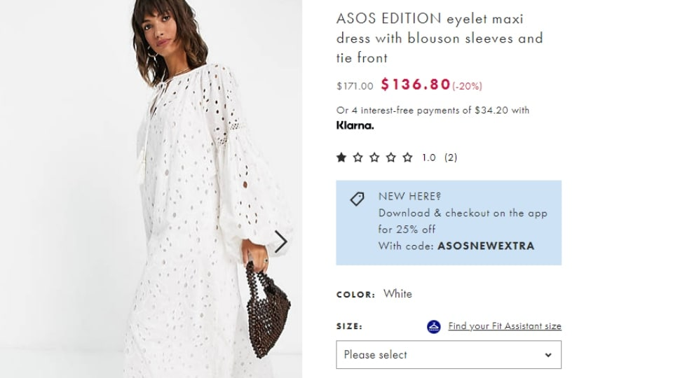 Anushka's ASOS EDITION eyelet maxi dress. (asos.com)