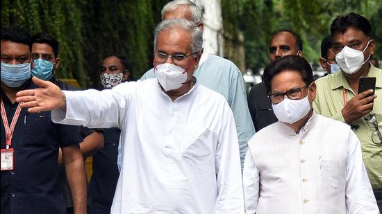 Chhattisgarh chief minister Bhupesh Baghel and state Congress incharge PL Punia leave party leader Rahul Gandhi's residence after a meeting in New Delhi on Tuesday. (ANI)