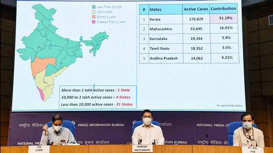 Secretary, Ministry of Health & Family Welfare, Rajesh Bhushan addresses a press conference on the actions taken, preparedness and updates on Covid-19 (including vaccination), in New Delhi on Thursday. (PTI)