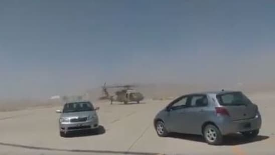 Grab from the video which shows a Blackhawk helicopter being driven at the Kandahar airport. (Twitter)