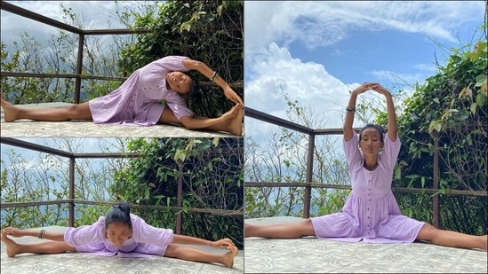 Ankita Konwar flaunts muscle flexibility with split stretching exercises as she returns home(Instagram/ankita_earthy)